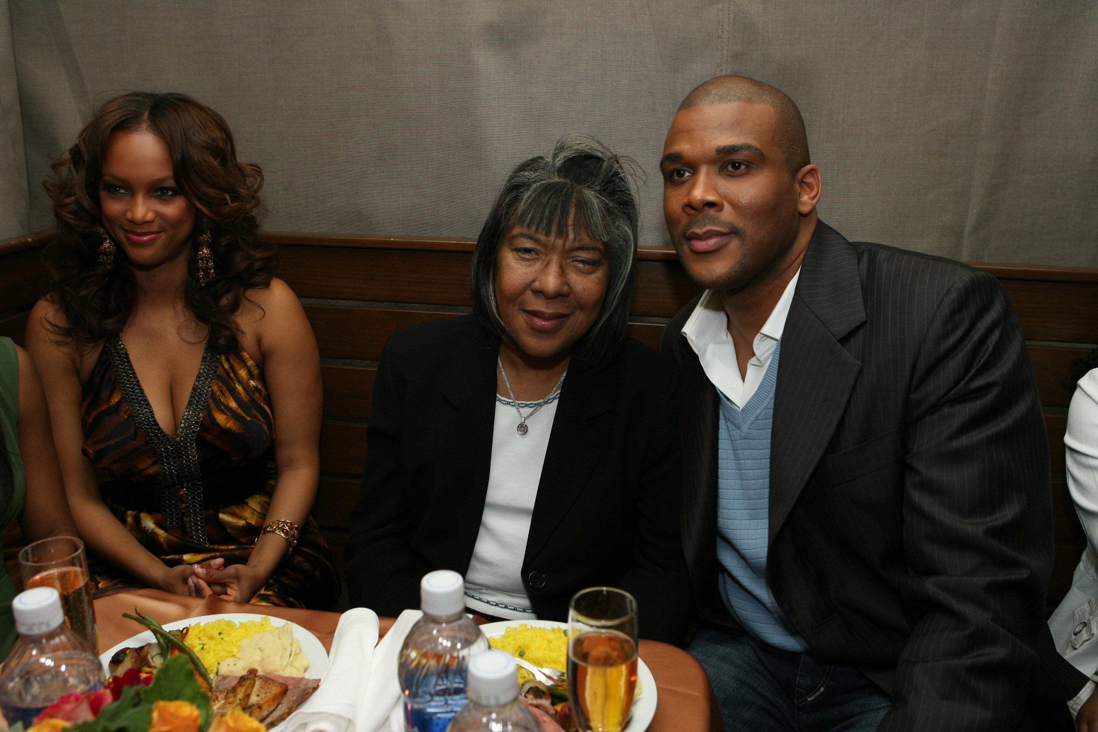 """Tyra Banks, Maxine Perry, and Tyler Perry at the premiere of Lionsgate's """"Madea's Family Reunion"""" on February 21, 2006, Los Angeles, California   Photo: Getty Images"""