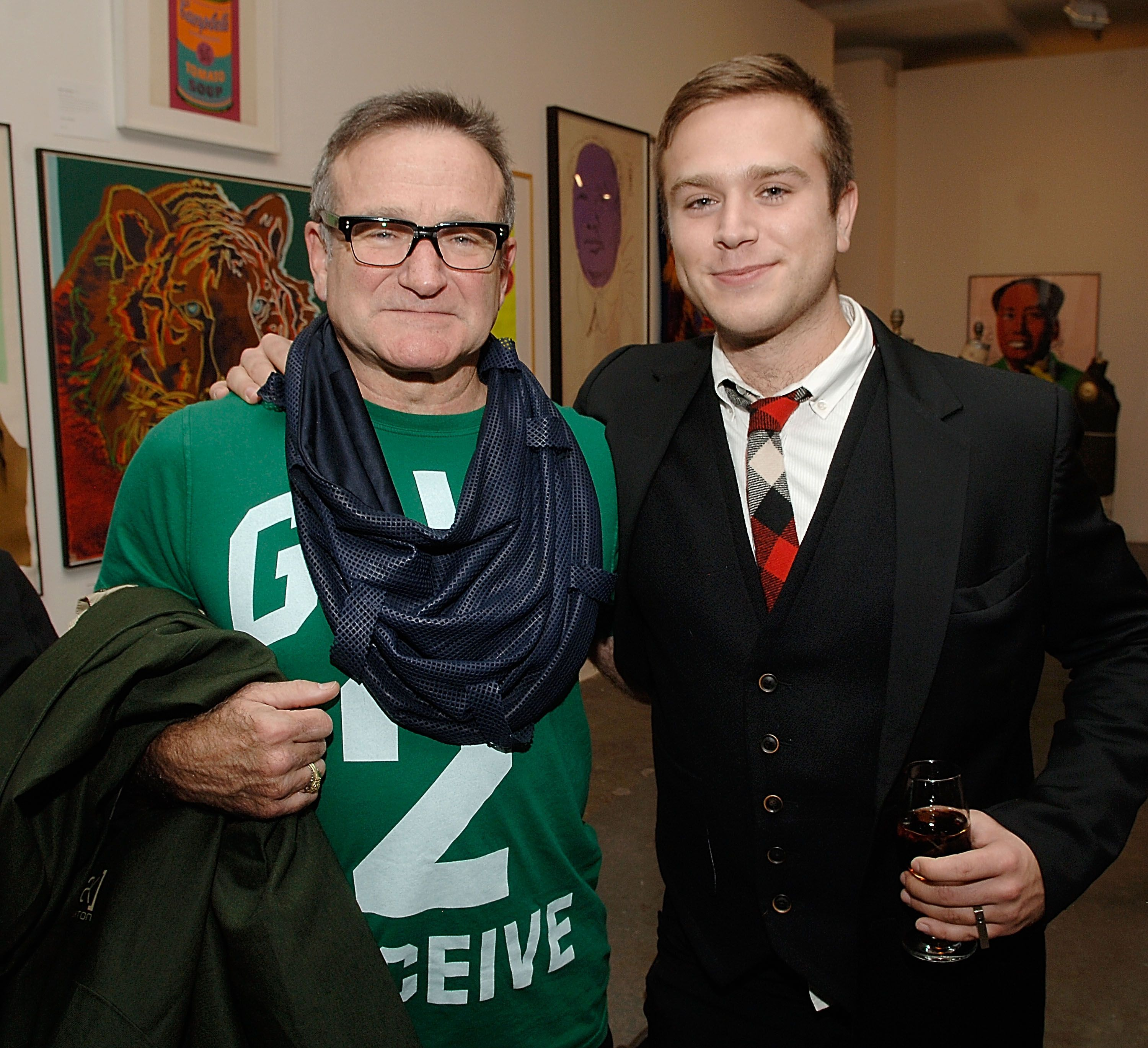 Robin Williams and Zak Williams attend the Timo Pre Fall 2009 Launch with Interview Magazine at Phillips De Pury on November 18, 2008 in New York City.   Photo: Getty Images