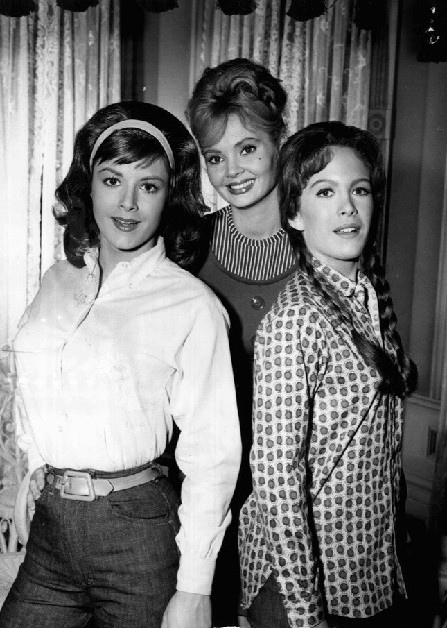 """Henning, Pat Woodell, and Jeannine Riley in a 1964 publicity photo for """"Petticoat Junction"""" 