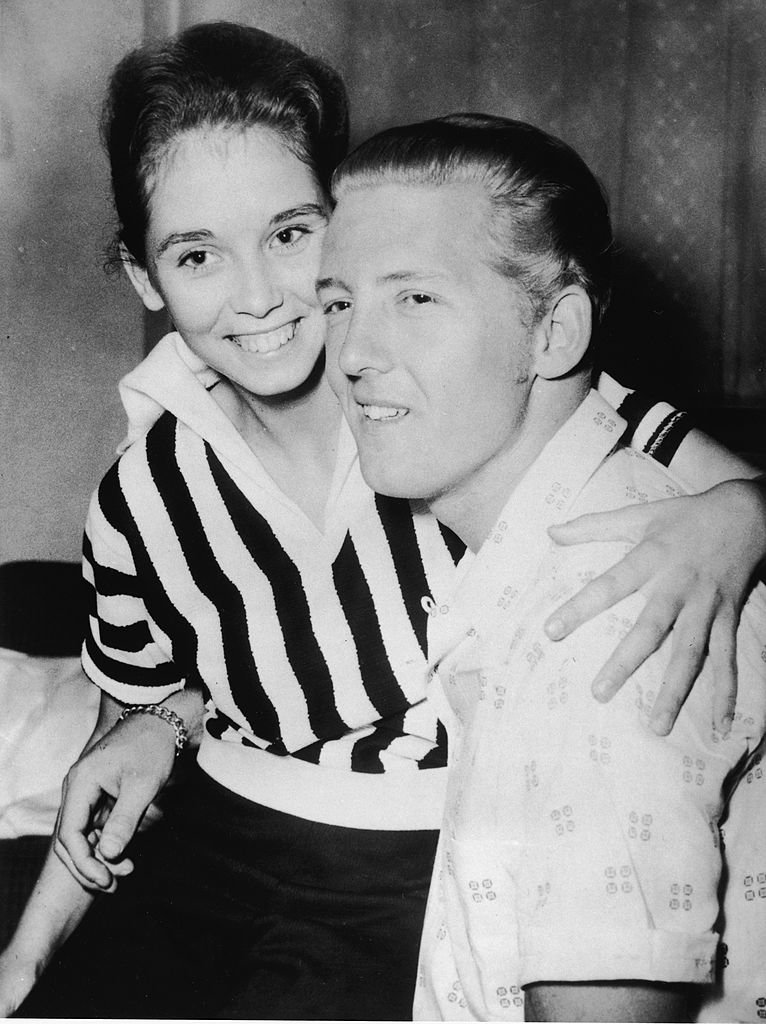 Jerry Lee Lewis holds his third wife Myra Brown at a press conference | Getty Images