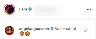Angela Eguavoen's comment on Ciara and her daughter Sienna's natural hair picture. | Photo: Instagram/Ciara