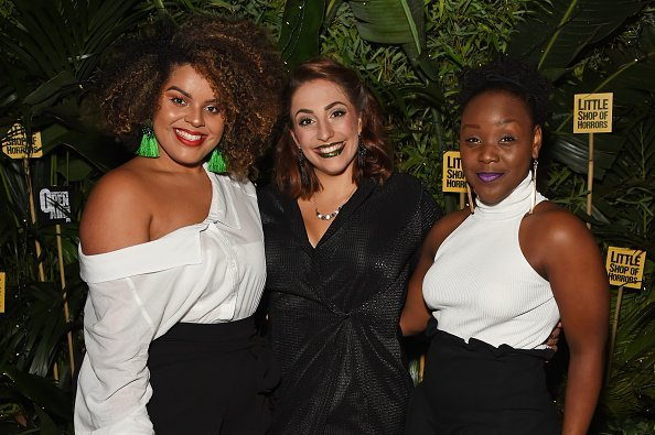 "Renee Lamb, Christina Modestou and Seyi Omooba at the press night after party for ""Little Shop Of Horrors"" on August 10, 2018 