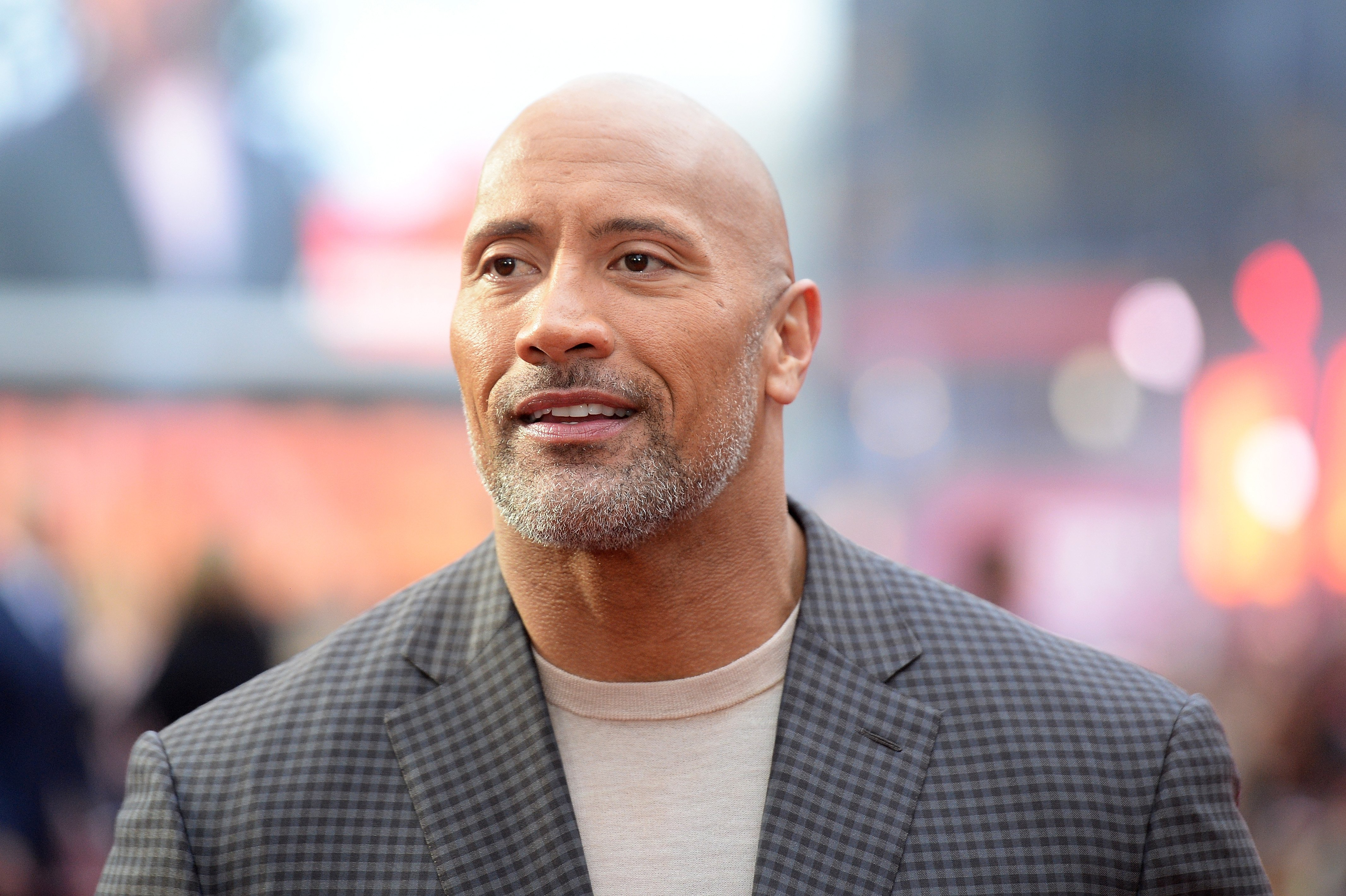 """Dwayne Johnson during the European premiere of """"Rampage"""" in April 2018. 