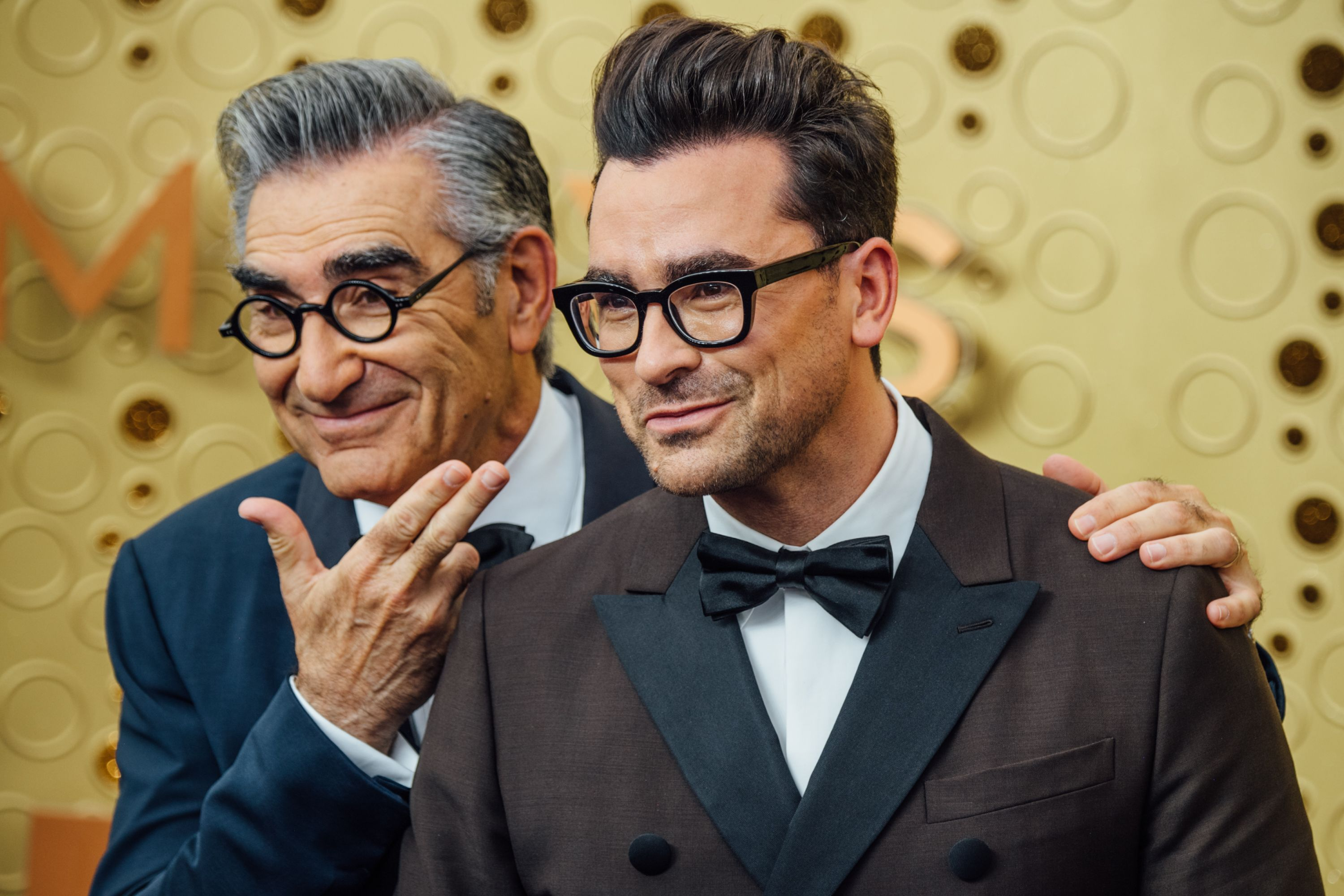 Eugene Levy and Dan Levy at the 71st Emmy Awards at Microsoft Theater in 2019 in Los Angeles   Source: Getty Images