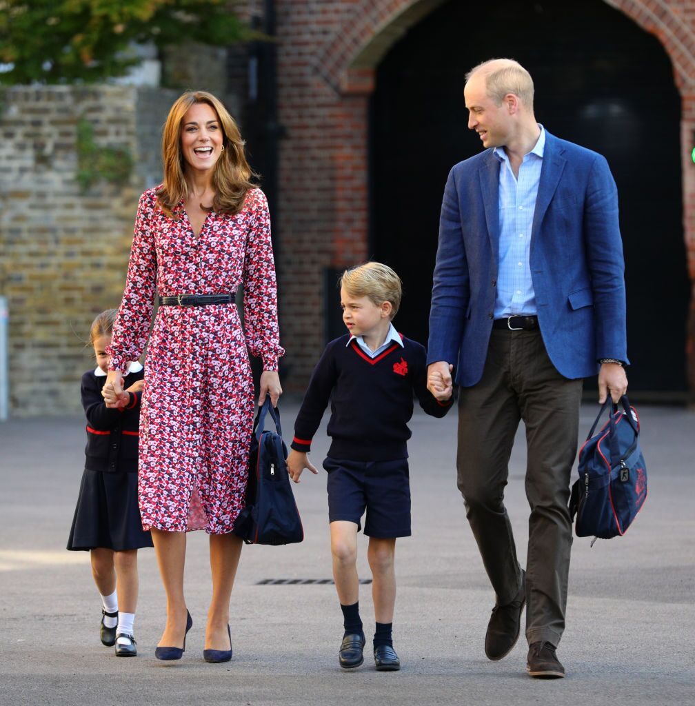 Princess Charlotte, Duchess Kate, Prince George, and Prince William at Thomas's Battersea school on September 5, 2019, in London, England | Photo: Getty Images