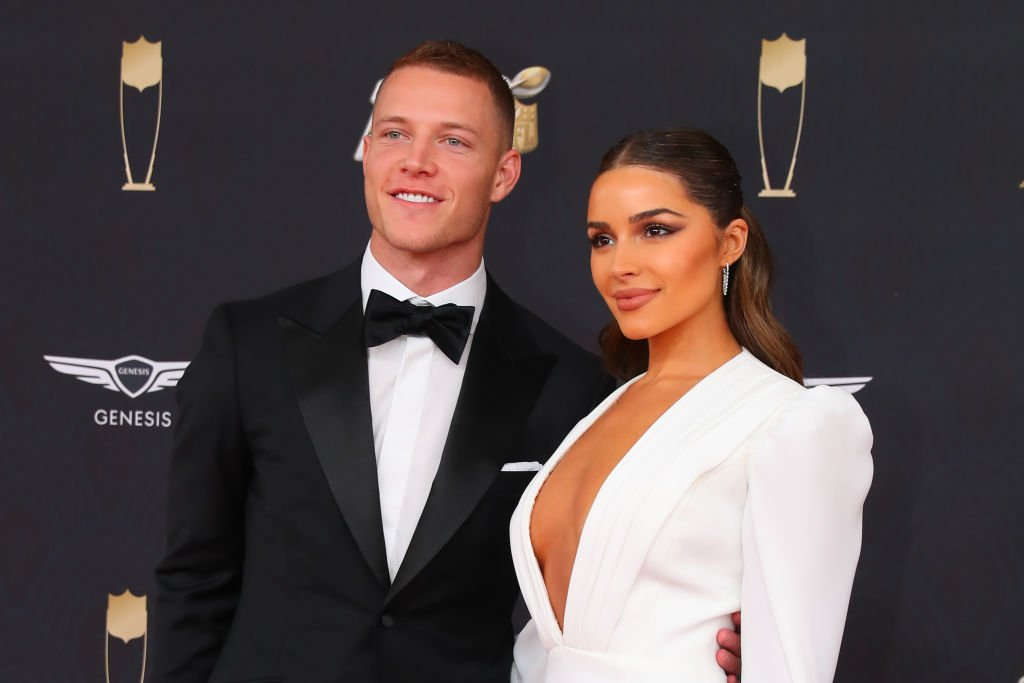 Christian McCaffrey and Olivia Culpo pose on the Red Carpet at the NFL Honors on February 1, 2020.   Photo: Getty Images