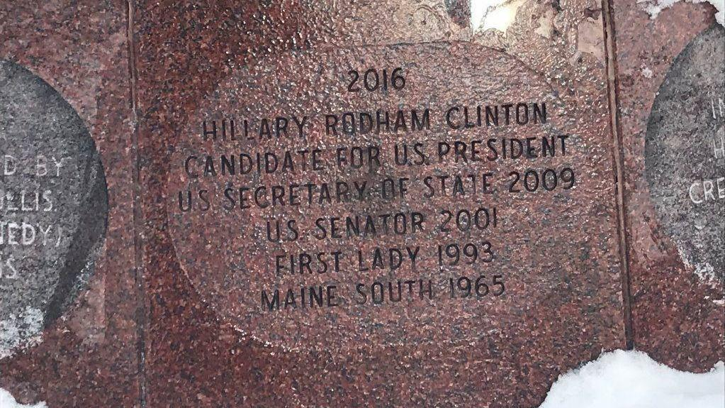 Hillary Clinton's name was added to a wall of historic milestones in her hometown of Park Ridge, joining a list of people and happenings dating back to 1832. Image credit: Getty/GlobalImagesUkraine