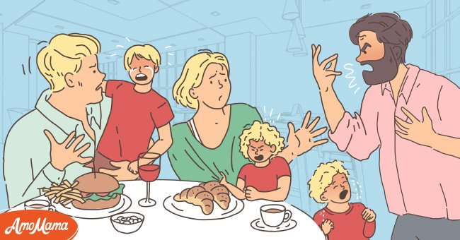 Man shouts at a family in a restaurant | Photo: Amomama
