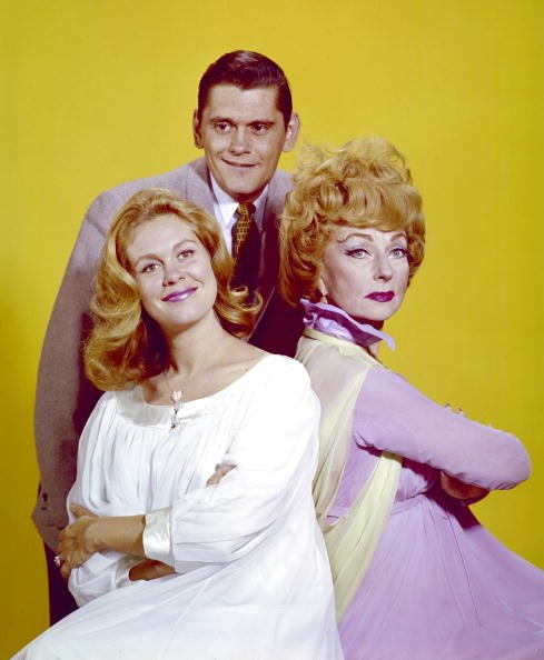 "A publicity portrait of Dick York, Elizabeth Montgomery, and Agnes Moorehead issued for television series, ""Bewitched,"" circa 1969. 