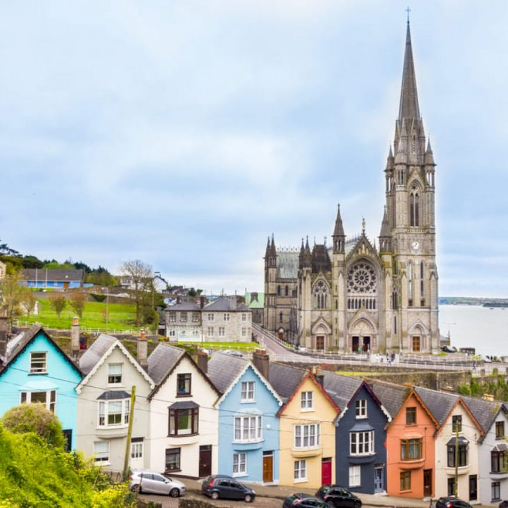Cathedral and colored houses in Cobh, Ireland   Shutterstock