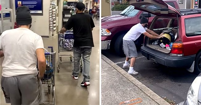Shoplifters push carts filled with stolen goods out of a store and then load it into their back of their car | Photo: Facebook/andrew.sullivan3
