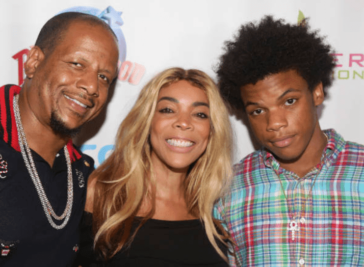 Kevin Hunter, Wendy Williams and son their Kevin Hunter Jr pose on the red carpet at The Hunter Foundation Charity event, at Planet Hollywood Times Square, on July 11, 2017, New York | Source: Bruce Glikas/Bruce Glikas/Getty Images