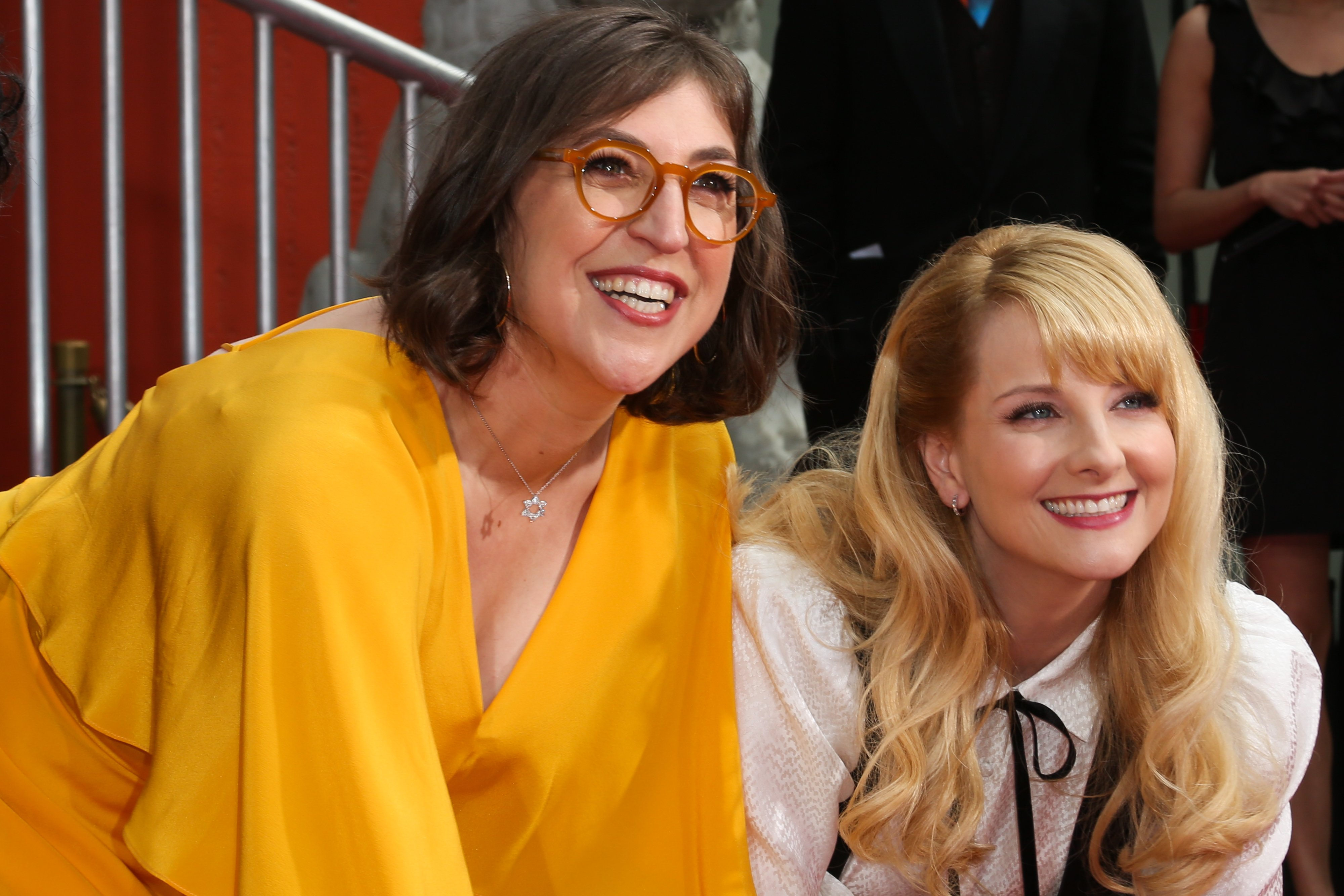 """Mayim Bialk (Left) and Melissa Rauch (Right) at """"Big Bang Theory's"""" handprint ceremony in Hollywood, May 2019. 