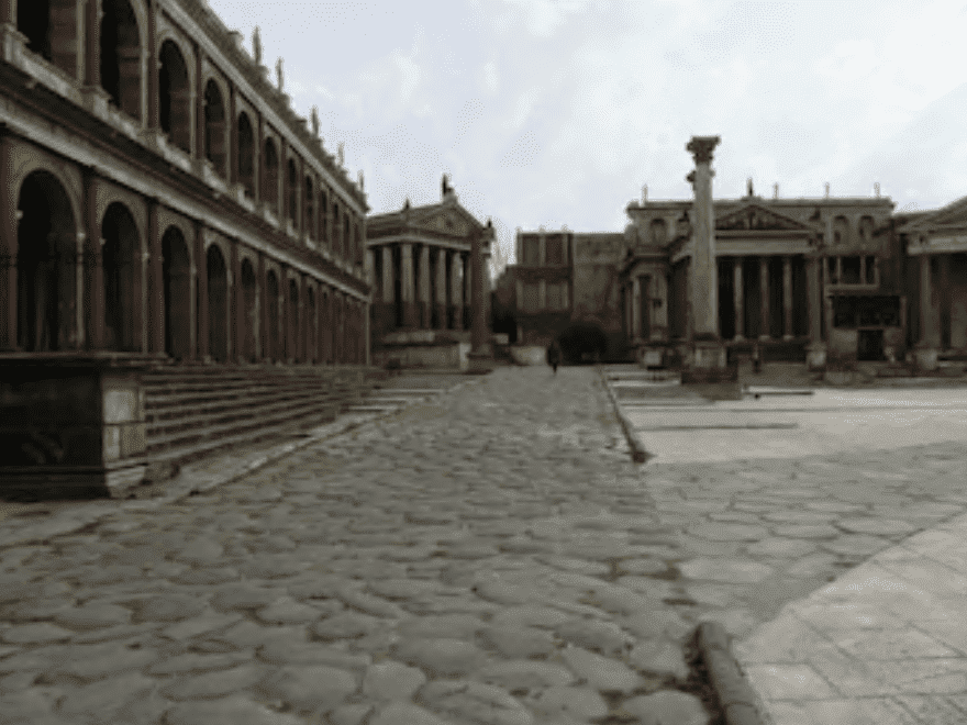 Cinecittà film studios, showing a stone road and ancient buildings, on November 4, 2014 | Source: Getty Images