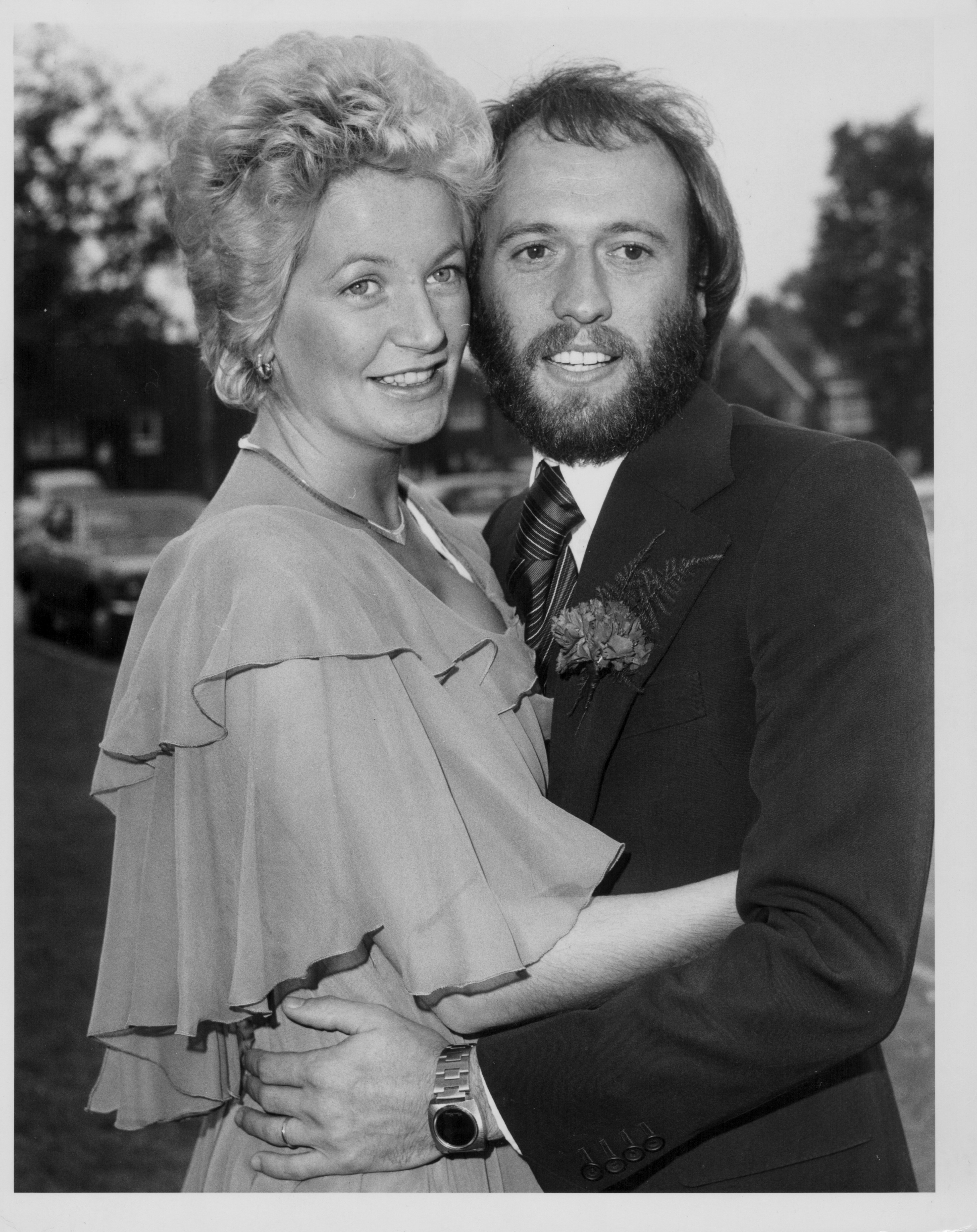 Maurice Gibb marrying Yvonne Spenceley at Haywards Heath Registry Office, Sussex, October 17th 1975.   Source: Getty Images