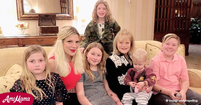Tori Spelling and her $600M-mom reunite in a rare photo with kids amid financial problems