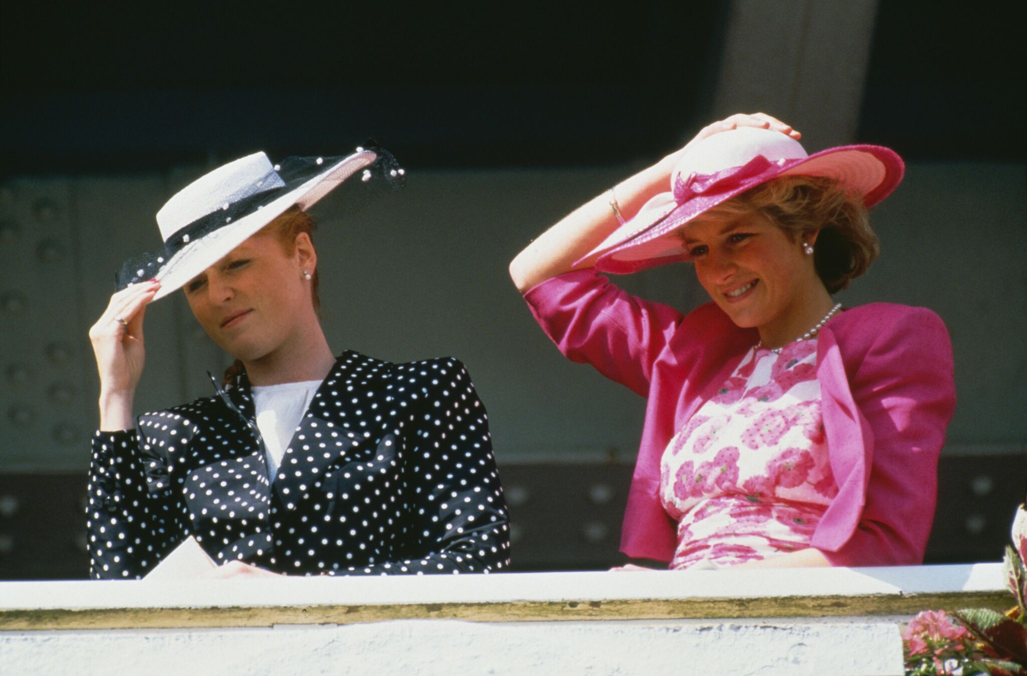 Sarah Ferguson and Princess Diana at Epsom