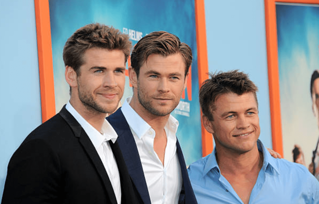 "Liam Hemsworth, Luke Hemsworth and Chris Hemsworth on the red carpet for the premiere of ""Vacation,"" on July 27, 2015, California 