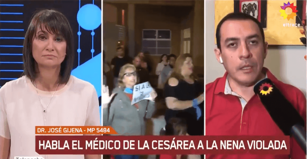 Doctor Jose Gijena talking to El Trece TV show about the C-section | Source: Twitter/eltrece