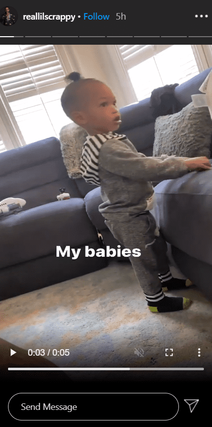 """""""Love and Hip Hop: Atlanta"""" stars, Lil Scrappy and Bambi Benson's son, Breland, seen standing next to a couch. 
