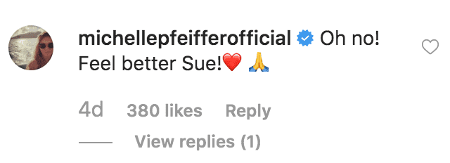 Michelle Pfeifer sendsSusan Sarandon well wishes after she shares a picture of an eye injury | Source: instagram.com/susansarandon