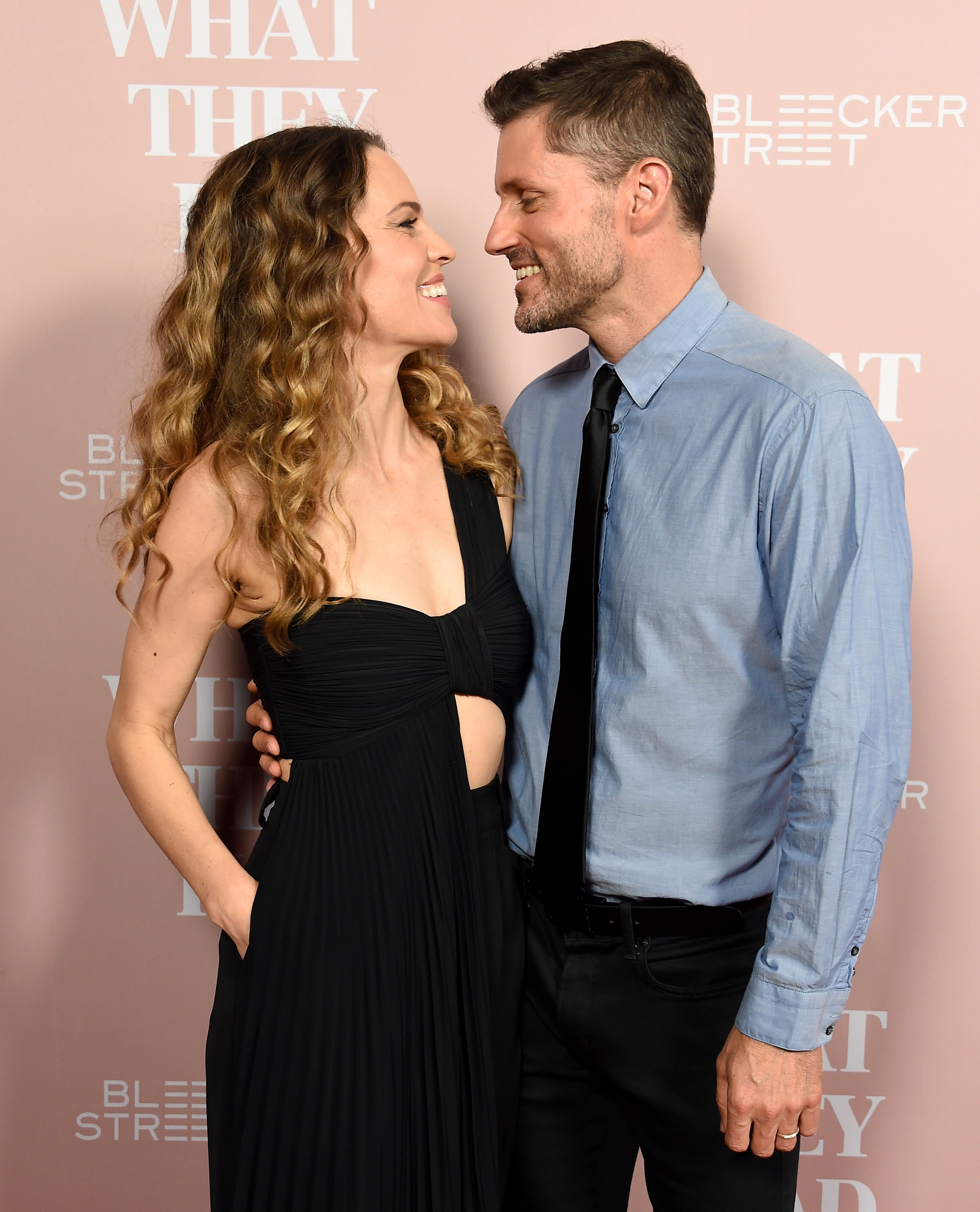 """Hilary Swank and Philip Schneider at the Los Angeles special screening of """"What They Had"""" on October 9, 2018 in Westwood, California.   Photo: Getty Images"""