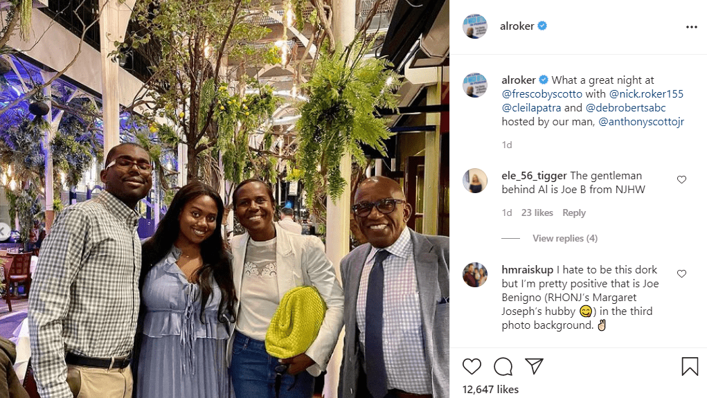 A picture of Al Roker at dinner with his family on Instagram | Photo: Instagram/alroker