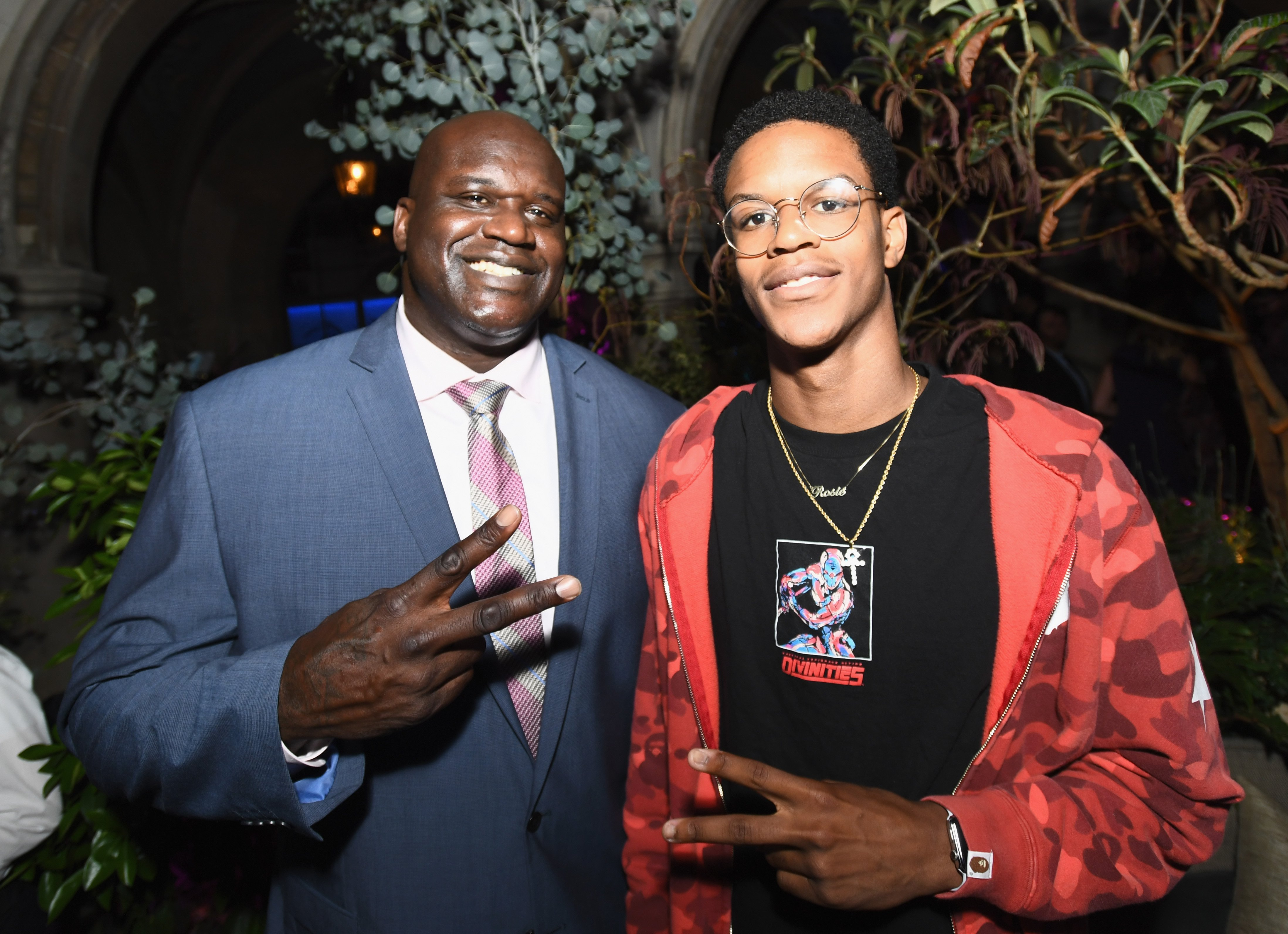 Shaquille O'Neal and son Shareef O'Neal at Apple Music Launch Party Carpool Karaoke: The Series with James Corden on August 7, 2017 | Photo: Getty Images
