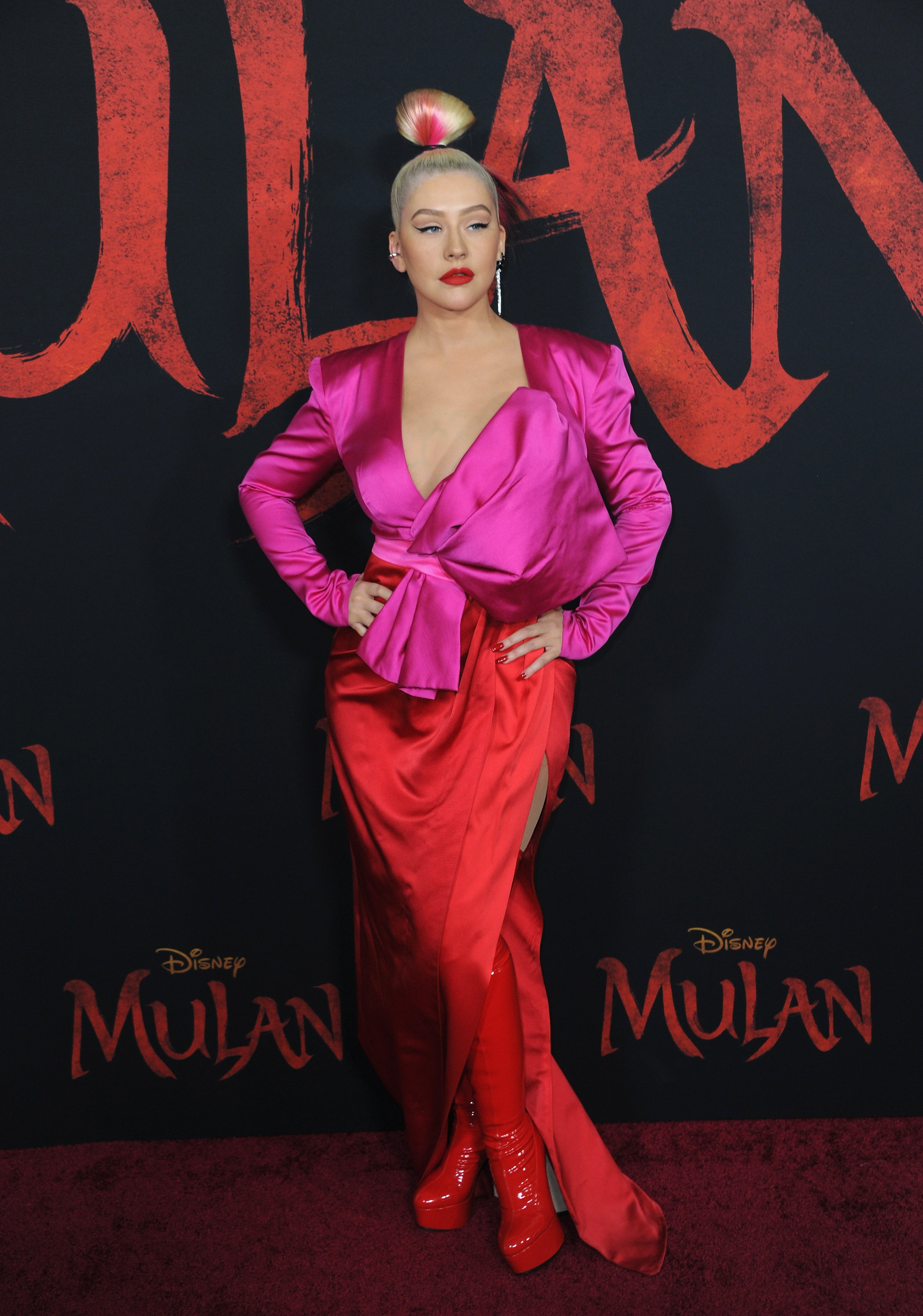 Christina Aguilera at the Premier of 'Mulan' in Hollywood, March, 2020. | Photo: Getty Images.
