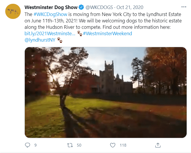 Lyndhurst estate where it was announced on October 21, 2020, that the Westminster Dog Show would be held   Photo: Twitter/@WKCDOGS
