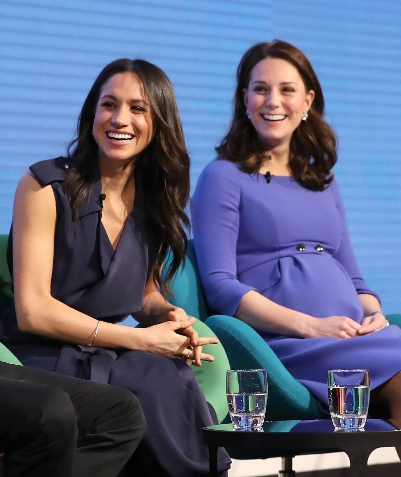 Meghan Markle and Kate Middleton attending the first annual Royal Foundation Forum in London, England in February 2018. | Image: Getty Images.