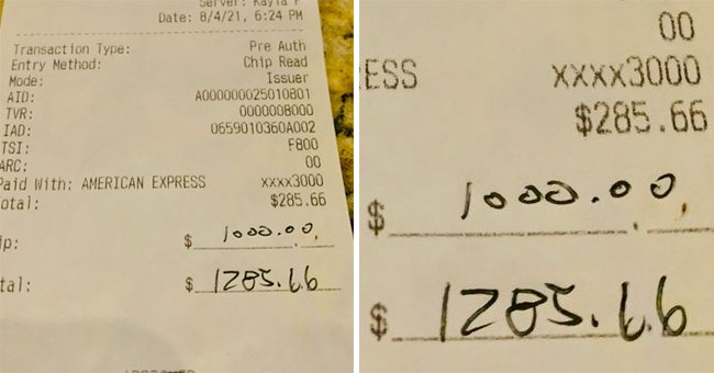 Customer Leaves Huge Tip at Florida Restaurant More than 3 Times the Actual Order