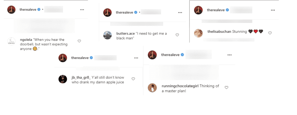Fan comments from Eve's Instagram page. | Source: Instagram/therealeve