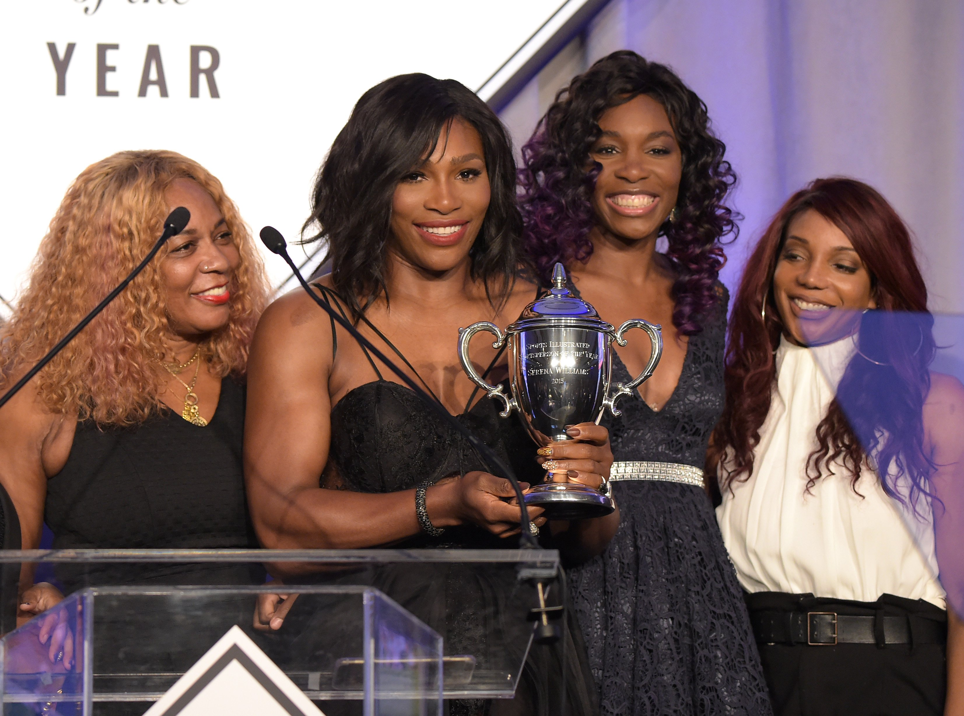 (L-R) Oracene Price, Serena Williams, Venus Williams and Lyndrea Price at the Sports Illustrated Sportsperson of the Year Ceremony on Dec. 15, 2015 in New York City | Photo: Getty Images