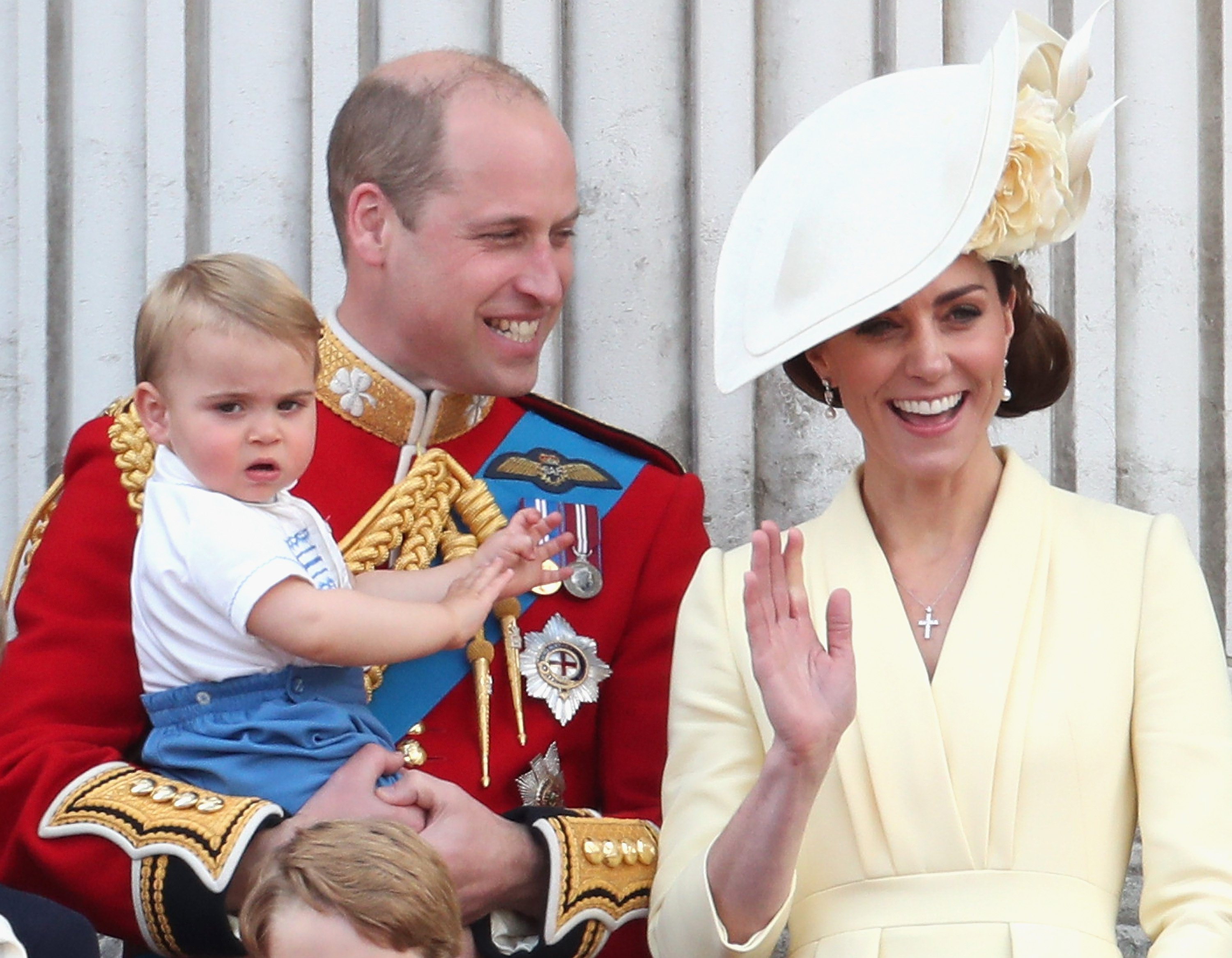 Prince Louis pictured with his father, Prince William and his mother, Kate middleton, at Trooping The Colour, the Queen's annual birthday parade, 2019, London, England.   Photo: Getty Images