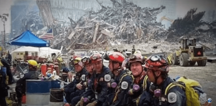 Firefighters at ground zero after the 9/11 | Sounce: Youtube/ABC7News