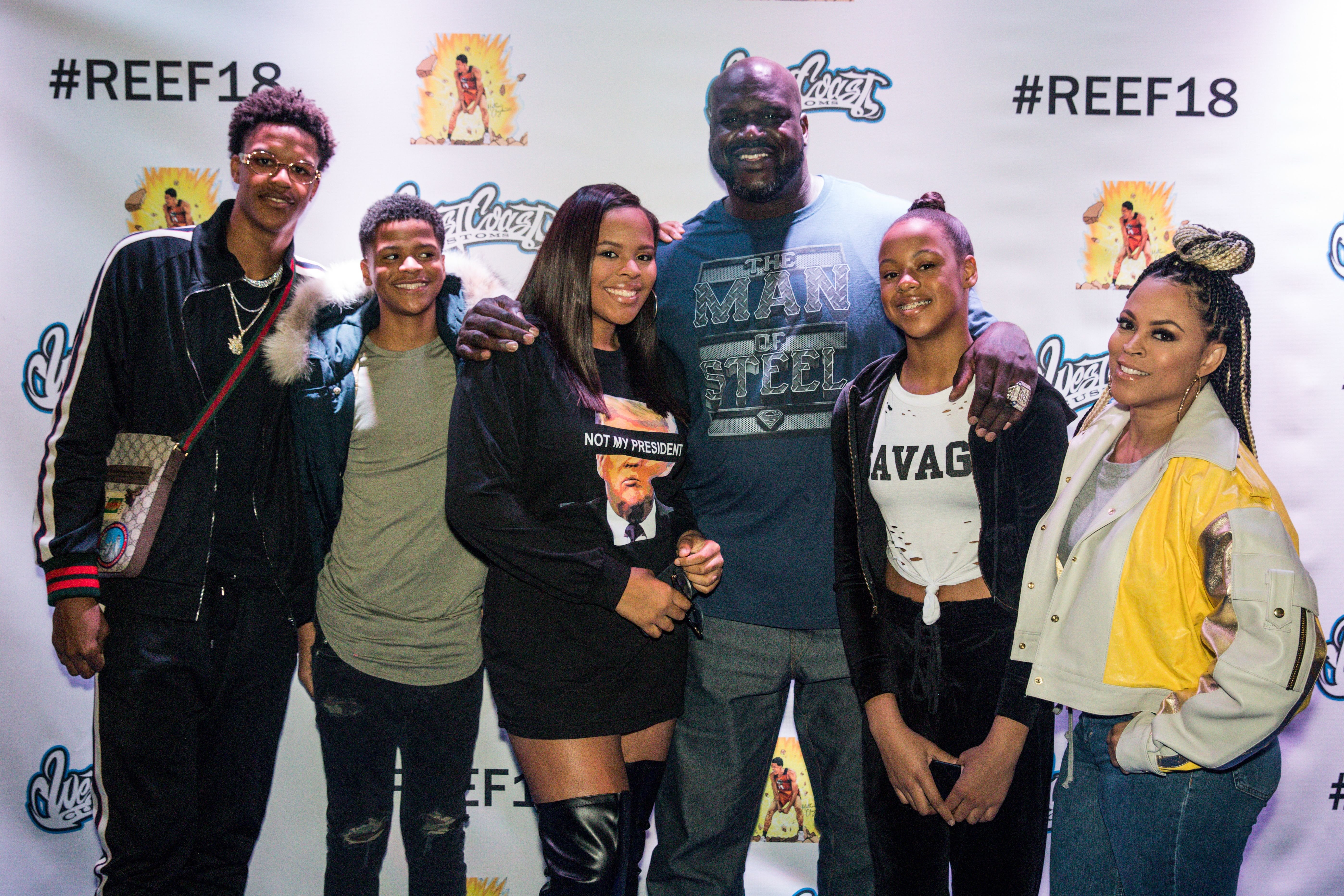 (L-R)Shareef, Shaqir, Amirah, Shaquille, Me'Arah & Shaunie O'Neal at Shareef's 18th birthday party on Jan. 13, 2018 in California   Photo: Getty Images