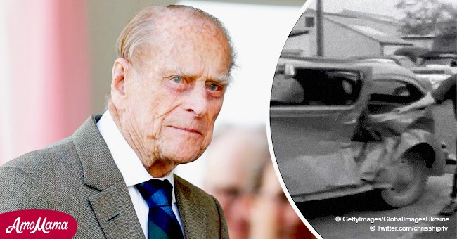 Archived video claims Prince Philip had a car crash 55 years ago while driving with the Queen