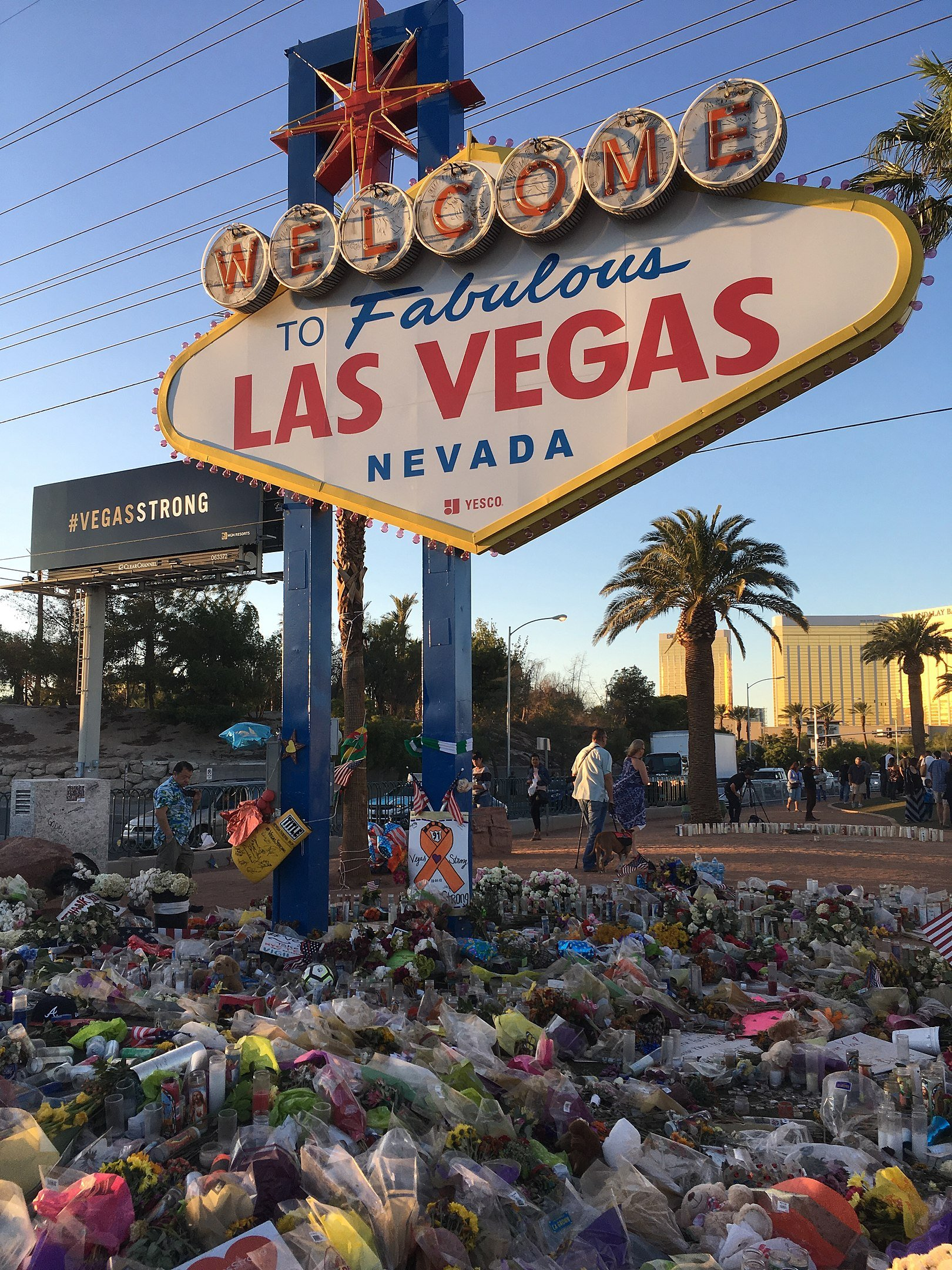 "The ""Welcome to Fabulous Las Vegas"" sign adorned with flowers on October 9, 2017, a week after the mass shooting 