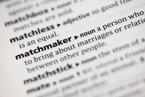 Close up of the dictionary definition of the word matchmaker. | Source: Shutterstock.