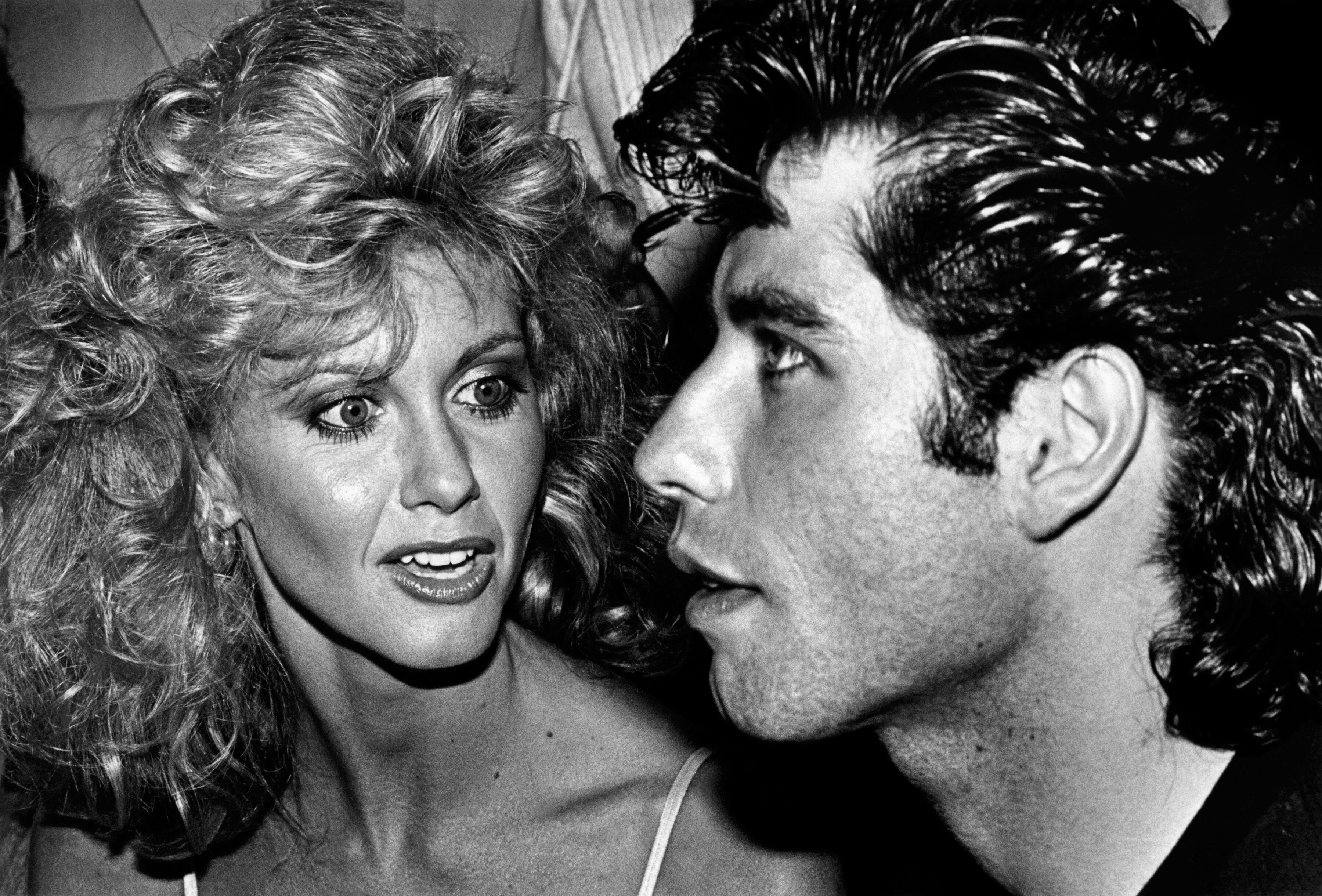"Olivia Newton-John and co-star John Travolta attend their 1978 Hollywood, California, premiere of ""Grease."" 
