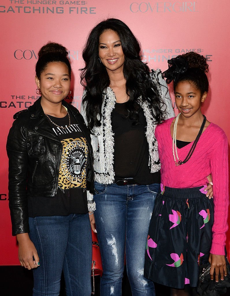 """Kimora, Ming, and Aoki Lee Simmons at the """"The Hunger Games: Catching Fire"""" premiere at the Nokia Theater in LA 