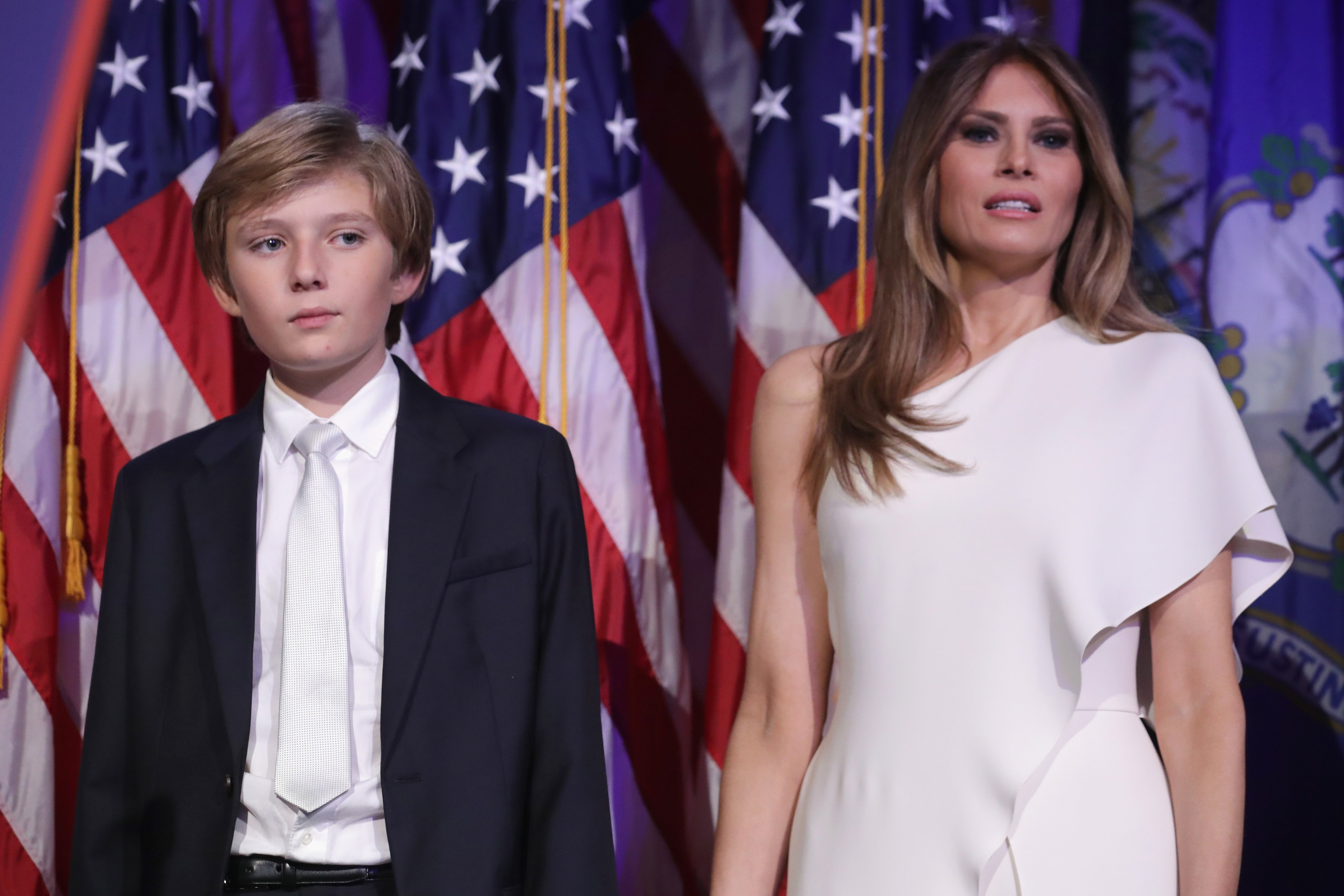 Barron Trump and Melania Trump at the New York Hilton Midtown in the early morning hours of November 9, 2016 | Photo: GettyImages