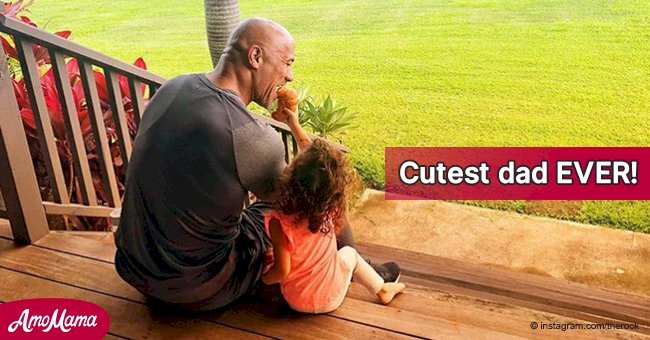 Best photos of Dwayne Johnson with his little daughters, showing him to be the cutest father