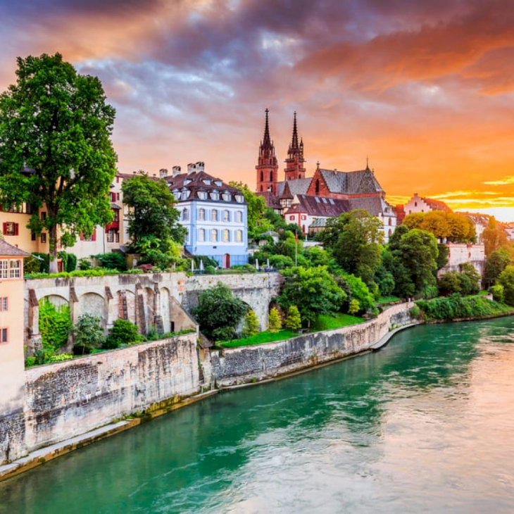 Old town with red stone Munster cathedral on the Rhine river. Basel, Switzerland.   Shutterstock