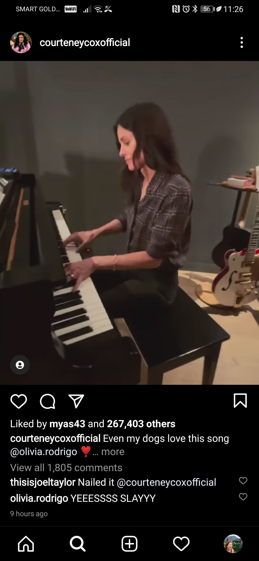 "Olivia Rodrigo leaves a supportive comment on Courteney Cox's rendition of ""Drivers License"" on February 7, 2021 
