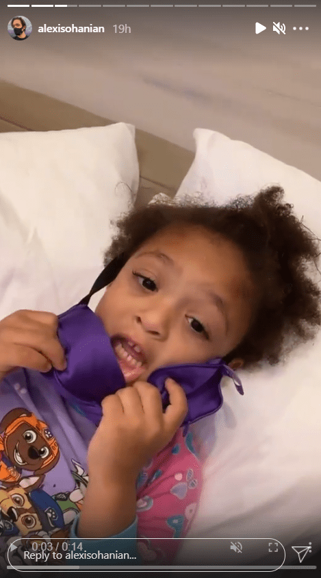 Serena Williams' daughter, Olympia, seen lying on her back while getting ready for bed with her dad | Photo: Instagram/alexisohanian
