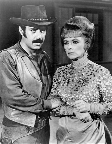 "Amanda Blake  and Pernell Roberts on ""Gunsmoke"" in 1968. 