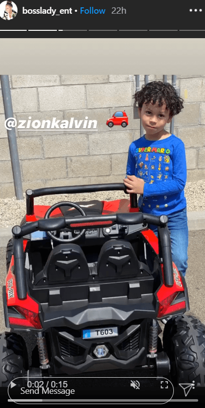 Snoop Dogg's grandson, Zion, posing with his toy car.   Photo: Instagram/@bosslady_ent