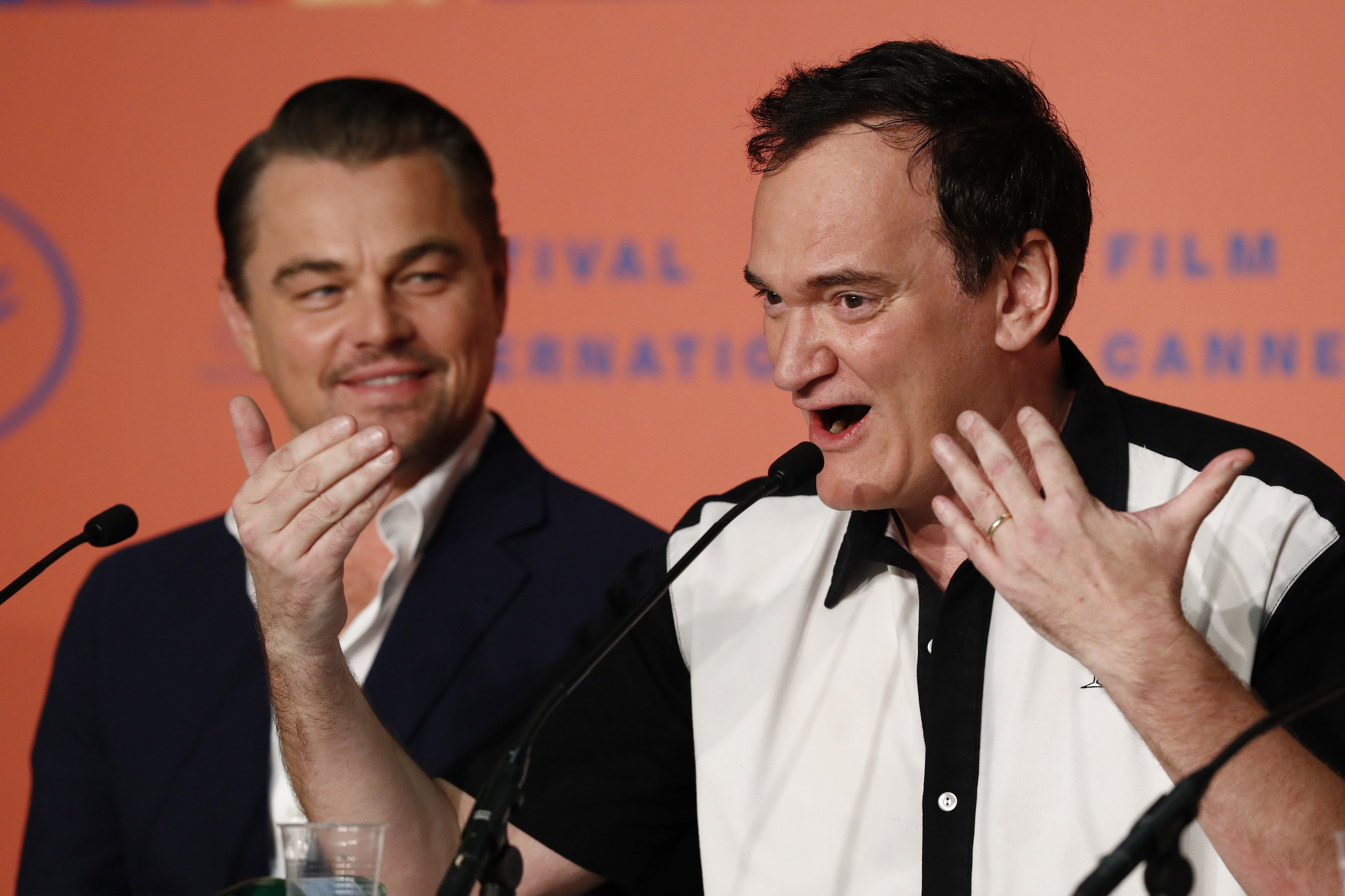 "Leonardo DiCaprio and Director Quentin Tarantino attend the ""Once Upon A Time In Hollywood"" Press Conference during the 72nd annual Cannes Film Festival on May 22, 2019 